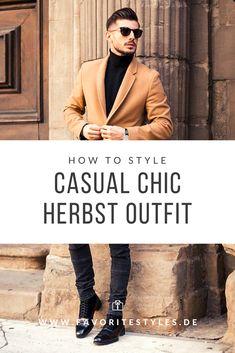 Erfahre welche Teile dazu passen! Casual Chic Outfit für Männer. Eleganter Look für die Freizeit mit Jeanshose, Rollkragenpullover, Halbschuhe und Wollmantel. Outfits für Männer mit passenden Teilen bei Favorite Styles. #favoritestyles #mode #fashion #outfit #männer #herren #style #stil #männermode #herrenmode #mensoutfit #mensfashion #ideen #inspiration #herbst #casual #chic #smart #elegant #arbeit #freizeit #herbst #winter #schwart #braun #beige