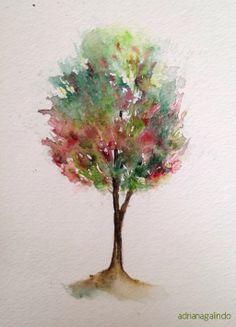 Bunter Baum Wasserfarbe Kunst Querformat 91,5 x 61 cm Coloured Tree Poster