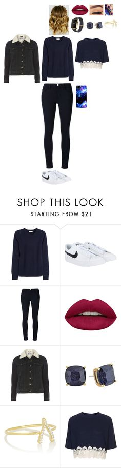 """""""Sans titre #2155"""" by leacousty55 ❤ liked on Polyvore featuring Equipment, NIKE, Frame, Huda Beauty, Dorothy Perkins, Kate Spade, Jennifer Meyer Jewelry and Topshop"""