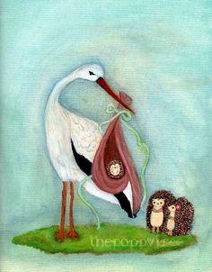 Hedgehog Print Baby Wall Art Stork Print Wall by thepoppytree