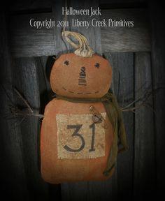 Primitive Halloween Jack  Epattern by libertycreek on Etsy, $7.50