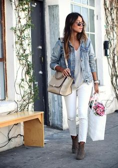 Summer Outfit Guide: What to Wear With White Jeans This Summer - wear them with a denim jacket + suede booties