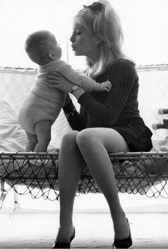 Catherine Deneuve with her son Christian Vadim, 1964