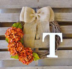 Fall WreathMonogram WreathGrapevine Wreath by TheLeoAndTheTaurus