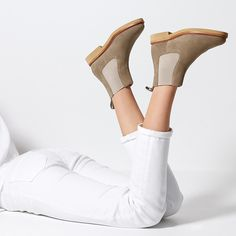 Women's Chelsea Boot Stone Hobes Shoes Footwear Flats Boots Leather Suede Color Style Inspo Fashion