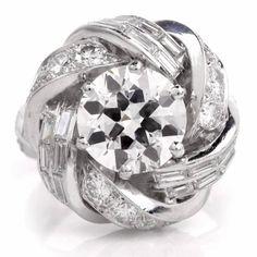 1950s Sterlé Paris Diamond Platinum Turban Ring