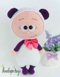Doll With Panda Costume Stuffed Toy от VenelopaTOYS на Etsy