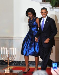 """apsies: """" President Barack Obama and First Lady Michelle Obama arrive for a Hanukkah reception on December 2011 in the Grand Foyer of the White House. Michelle E Barack Obama, Barack Obama Family, Michelle Obama Fashion, Obamas Family, Obama President, Joe Biden, Durham, Cosmopolitan, Kate Middleton"""