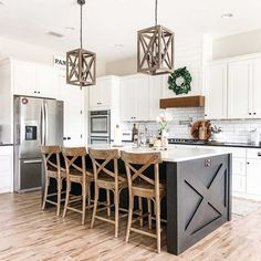 Kitchen Island Remodel Ideas, Kitchen Island With Sink, Farmhouse Kitchen Island, Modern Farmhouse Kitchens, Kitchen Redo, Home Decor Kitchen, Kitchen Interior, Kitchen Living, Home Kitchens