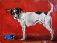 Bone Bowl and Dog on Red -  oil on Panel by Margot King