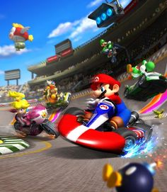 Mario Kart Drinking Game Got a few beers and a Nintendo console? Then Mario Kart is a must. You can play this with any Mario Kart game but keep in mind, if you play with the Wiimote as a steering. Nintendo Mario Kart, Mario Kart 8, Mario Bros., Nintendo Games, Video Game Posters, Video Games, Wii U, Deco Gamer, Princesa Peach