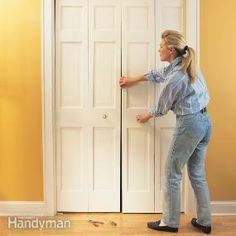 How to Fix a Bifold Door ~ After a few years of use, bifold doors often start to sag, scrape against the floor or pop out of their brackets. Three basic adjustments will usually get them back on track.