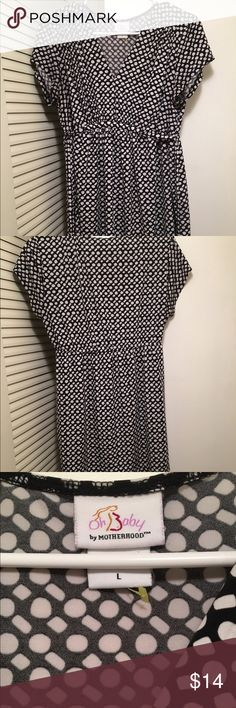 Maternity blouse Here's a long maternity black and white size large blouse with string to tie back from both sides. This shirt is nice and long. Motherhood Maternity Tops Blouses