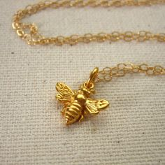 Little Gold Bee Necklace - Simple Nature Jewelry