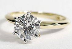Classic Six Prong Ring in 18k Yellow Gold -- princess cut and perfecto!