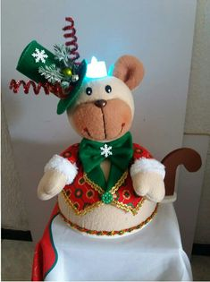 Christmas Centerpieces, White Christmas, Gingerbread, Red And White, Diy And Crafts, Teddy Bear, Toys, Children, Cake