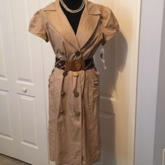 NWT Khaki Button Up Career Dress size 10 Size 10, is a reposh that didn't fit. Belt not included but does have loops for a belt. Pockets & lots of details on this dress! Robbie Bee Dresses Midi