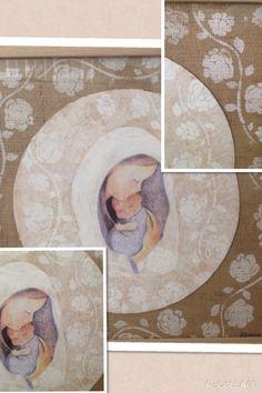 Virgen enmarcada. Fondo arpillera. Diseños personalizados. Consultas a MEpatinasyobjetos@gmail.com
