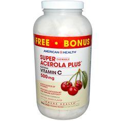 American Health, Super Chewable Acerola Plus, Natural Berry Flavor, 500 mg, 300 Chewable Wafers  витамин Ц жевательный