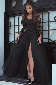 ea6ece35f81 Affordable Black Prom Dresses Lace High Slit Long Sleeves Evening Dresses  Prom