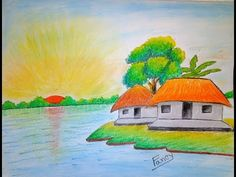 How to draw village scenery step by step Pencil Drawings Of Flowers, Oil Pastel Drawings, Pencil Art Drawings, Drawing Art, Art Sketches, Scenery Drawing For Kids, Art Drawings For Kids, Painting For Kids, Easy Drawings
