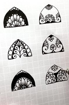 Easy Drawing Patterns, Simple Patterns To Draw, Doodle Patterns, Zentangle Patterns, Doodle Art Drawing, Zentangle Drawings, Mandala Drawing, Mandala Painting, Zentangles
