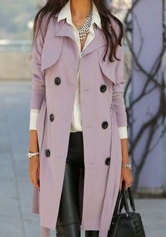 lilac spring trench coat with black buttons layered with white button down and black leather leggings | Jackets To Transition Your Spring Style  www.divinestyle.co