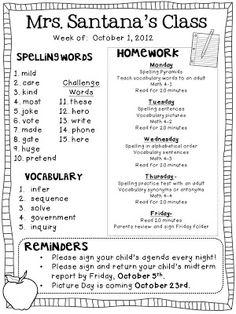 Classroom Freebies Too: Homework Newsletter