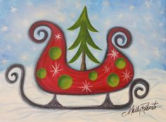 This whimsical sleigh is waiting for Santa to jump in and deliver presents. It would make a perfect Christmas card!  http://fineartamerica.com/featured/sleigh-ride-molly-roberts.html?newartwork=true