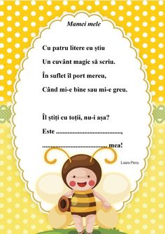 "Mamei mele - o poezie scurtă, dedicată mamei, după învățarea literelor a și m și scrierea cu litere de mână a cuvântului ""mama"" Diy And Crafts, Crafts For Kids, 8 Martie, Preschool At Home, Happy Mother S Day, School Lessons, Printable Paper, Happy Planner, Kindergarten"