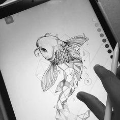 Kerby Rosanes - Half-geometrical drawings - Koï carp