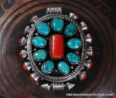 Tibetan floral double vajra ghau prayer box pendant with turquoise handmade tibetan prayer box pendant turquoise aloadofball Image collections