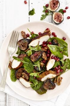 Honey Roasted Fig and Walnut Salad with Balsamic Chicken