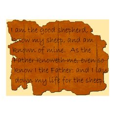 Free Christian Clip Art: Scripture Portion - I Am The Good Shepherd... ❤ liked on Polyvore