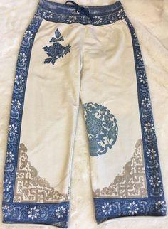 Lucky Brand Knit Wear Size Small Asian Cropped Sweat Lounge Pants Blue Ivory  | eBay