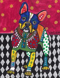 French Bulldog Art Dog Angel Poster PRINT Painting Christmas Gift Abstract
