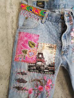 Vintage Jeans, Jean Vintage, Vintage Ladies, Unique Vintage, Jeans Button, Denim Jeans, Patched Denim, Blue Jeans, Pilou Pilou