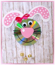 Witziger CD-Hase, Türglocke oder Fensterbild, Basteln mit Kindern