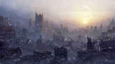 """[image] Title: Environment: Post Apocalypse Name: Daniel Kvasznicza Country: Austria Software: After Effects, Photoshop Hi there! Yet another """"against-the-light"""" matte painting. I want to show off a post apocalypt… Post Apocalypse, Apocalypse Survival, Science Fiction, Post Apocalyptic City, Photos Hd, End Of Days, Matte Painting, To Infinity And Beyond, Places"""