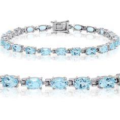 12ct tw Sky Blue Topaz Tennis Bracelet in Sterling Silver 7 1/4 inch ($80) ❤ liked on Polyvore featuring jewelry, bracelets, tennis bracelet, sterling silver bangles, bracelet bangle, sterling silver bracelet and blue topaz bracelet