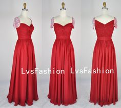 Straps with Beading Short Sleeves Red Chiffon Prom Dresses, Evening Gown, Party Dresses. $189.00, via Etsy.