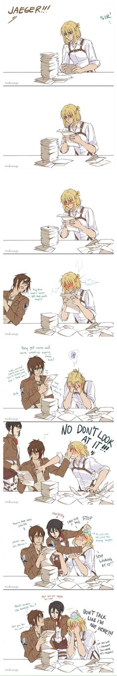 Haha.. Poor Armin.. Are we not going to talk about how awesome Mikasa's haircut is? Or how sexy Arm in looks with long hair?!