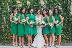 Mix and match bridesmaid dresses in the same color and length!