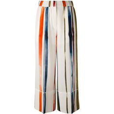 Sonia Rykiel painted-stripe trousers ($710) ❤ liked on Polyvore featuring pants, multicolor, cropped pants, silk trousers, silk cropped pants, loose fitting pants and loose fit pants