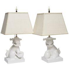 Pair of American White Ceramic Foo Dog Lamps