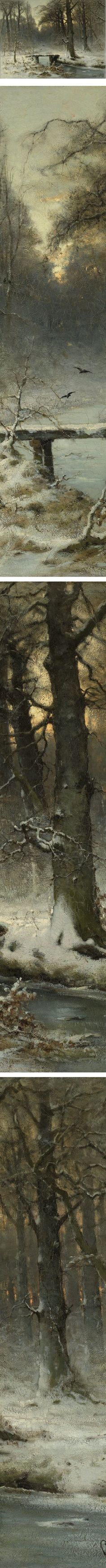 Een januari-avond in het Haagse bos (A January evening in the Hague forest), Louis Apol