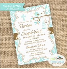 Baptism Christening Boy Bird Birdcage Printable by Mimorusa