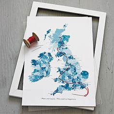 Personalised Stitch Your Journey Map Print by TheLittleBoysRoom, the perfect gift for Explore more unique gifts in our curated marketplace. Journey Mapping, Idee Diy, Gsm Paper, Custom Map, Secret Places, Couple Gifts, Hand Stitching, Unique Gifts, Stationery