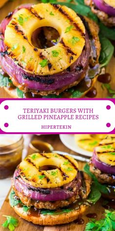 TERIYAKI BURGERS WITH GRILLED PINEAPPLE RECIPES Grilled Pineapple Recipe, Pineapple Recipes, Grilling Recipes, Cooking Recipes, Healthy Recipes, Teriyaki Burgers, Pork Burgers, Snacks Sains, Clean Eating Snacks