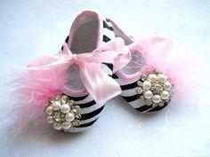 Baby Girl Crib Shoes Zebra Fancy Baby Booties.Newborn Booties,Baby Shoes.